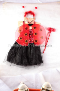 cheap black one piece girls fairy dresses with red coccinella wings set for party