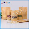 stand up Kraft paper pouch bags with zipper for food grade/custom make Coffee paper bags with clear window