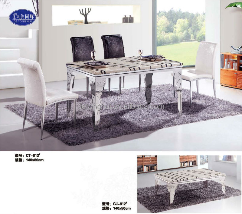 CT-812# Y-602# Contemporary Stainless Steel Dining Room Table