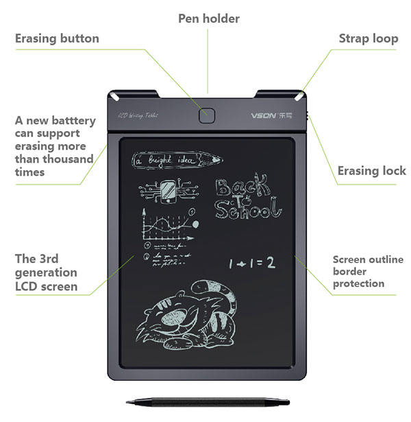 Erasable LCD Writing Drawing Tablet with Stylus pen made in china