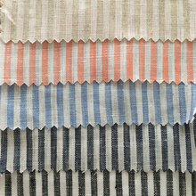 Wholesale 14S 140CM Yarn Dyed Stripe Linen Fabric 100% Pure Flax Linen