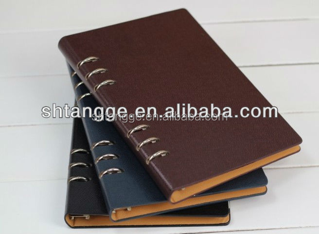High Quality Exquisite Pu Cover Leather Bound Loose Leaf Notebook
