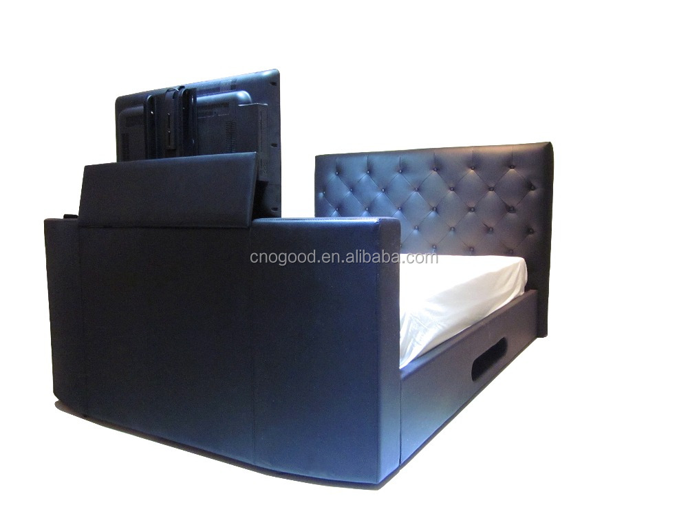 high round leather headboard Tv bed frame #TB015