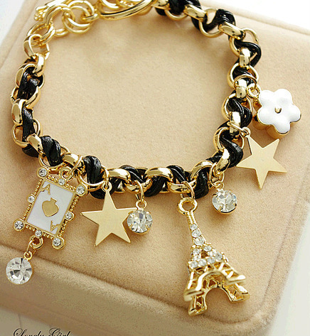 2016 Fashion Jewelry Multielement Gold Chain Leather Rope Crystal Handmade Bracelet Eiffel Tower Star Poker Pendant For Girls