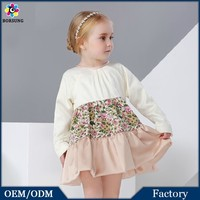 2015 fashion pattern pure cotton long sleeve high waist kids frocks European style baby girl party dresses in bangalore