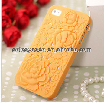3D PC rose flower plastic cases for iphone 5