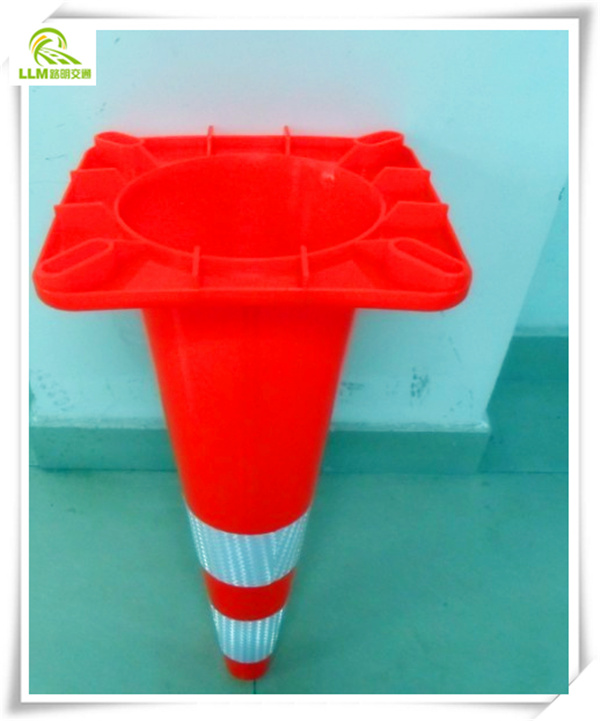 "36"" Tall PVC Black Base Traffic Cone"