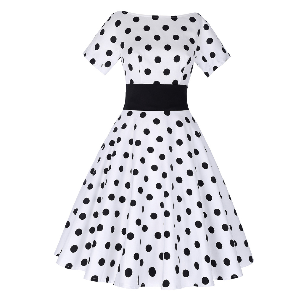 Belle Poque Stock Retro Vintage Short Sleeve Crew Neck White Polka Dots Party Picnic Dress BP000211-2