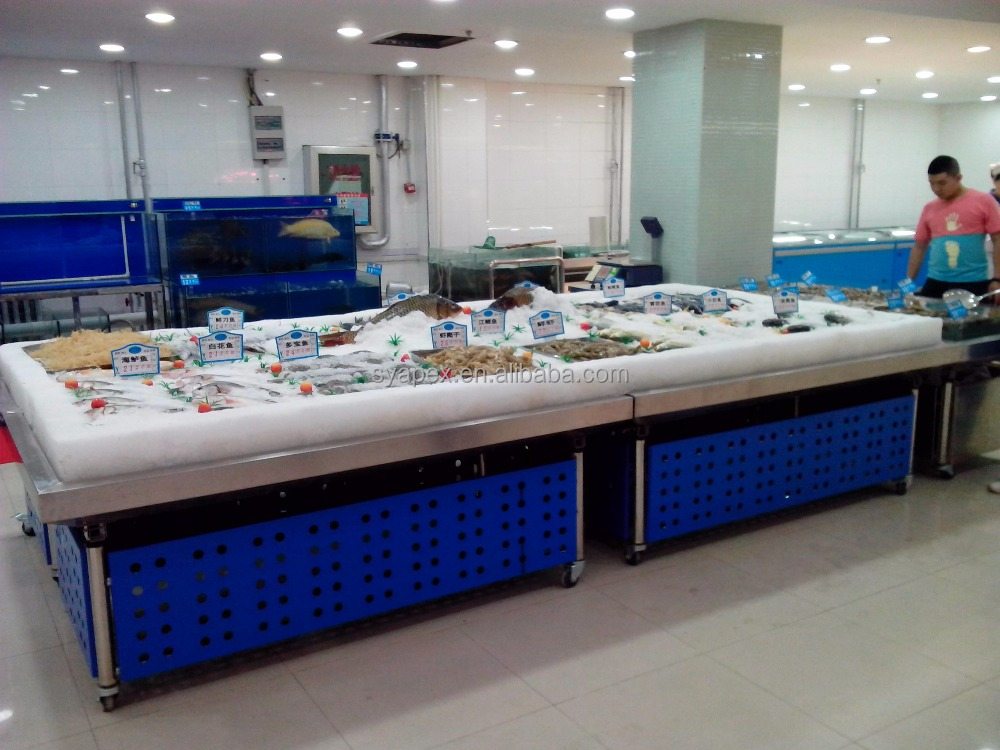 APEX custom make commercial supermarket restaurant stainless steel frozen salmon fish display table
