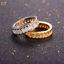 U7 Brand couple Eternity Ring For Women Gift Jewelry Platinum/ 18k Gold Plated Anniversary/Wedding Luxury CZ Crystal Rings