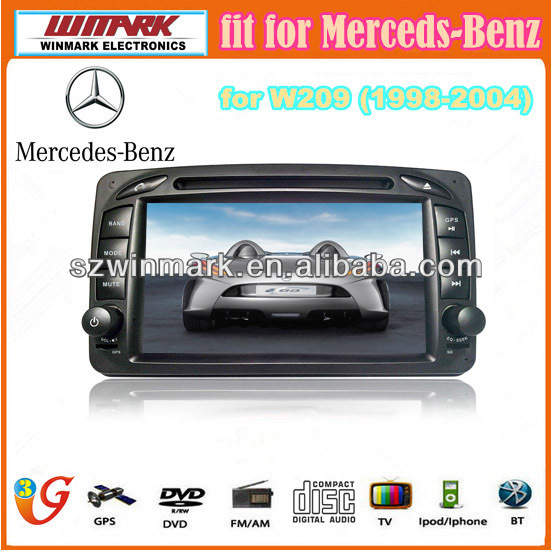Mercedes-Benz 7'' 2din TFT LCD touch screen car audio with MTK3360 platform(Win CE 6.0) and GPS/BT/DVD/SD/USB/3G W209(1999-2004)