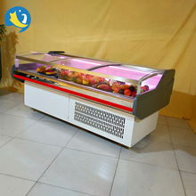 Hot sale energy saving flat glass door pork showcase fresh meat service counter with LED