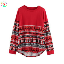 Cotton blend Christmas tee shirts women oversized tee long sleeve loose tops custom print t shirt wholesale