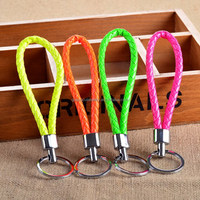 Candy color braided leather cord keychain keyring key chain ring