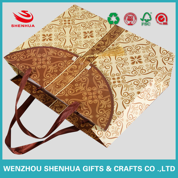 high quality beauty and brand packaging carry paper bag ribbon handles