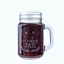 Embossed Colored Glass Mason Jars with Handle