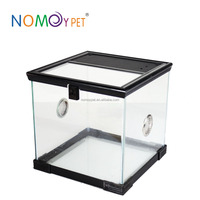 NOMO Glass Breeding Cage for Reptile with Feeding Hole