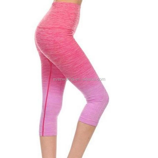 Seamless women Three quarter ombre workout capri pants