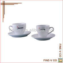 Porcelain Coffee Cup and Saucer with customized logo printing