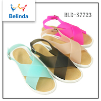 wholesale new design guangzhou shoes market ladies sandal flat with high quality