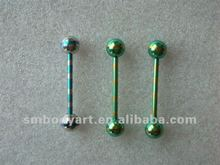 2012 new design titanium pvd anodized tongue barbell rings body jewelry piercing AMSD12073106