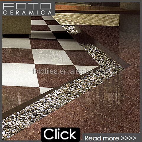 Dark brown crystal double loading glossy vitrified porcelain floor jaguar tile