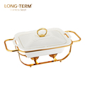L4131AN Luxury Golden Ceramic Cover Single Bowl Buffet Dish Chafing