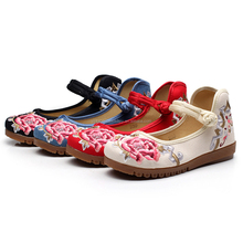 Wholesale Canvas Espadrille Shoe Woman Embroidery Shoe Factory Custom Flower Shoes Flats For Women