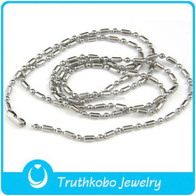 L-N0089 metal jewelry making supplies wholesale men bead stainless steel polish necklace online