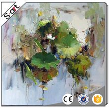 Famous artists best sell lotus water lily ceramic chinese oil painting
