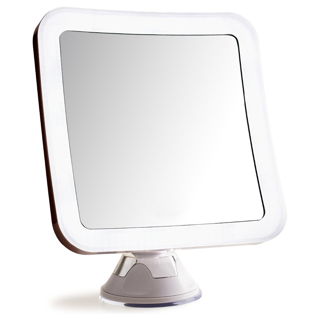 Square bathroom LED 10X magnifying glass mirror make-up mirror with strong suction cup