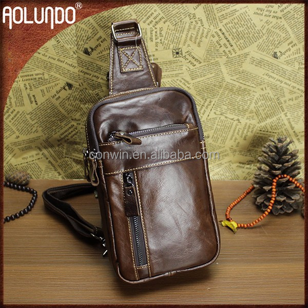 Single strap mens cool brown gym leather custom backpack