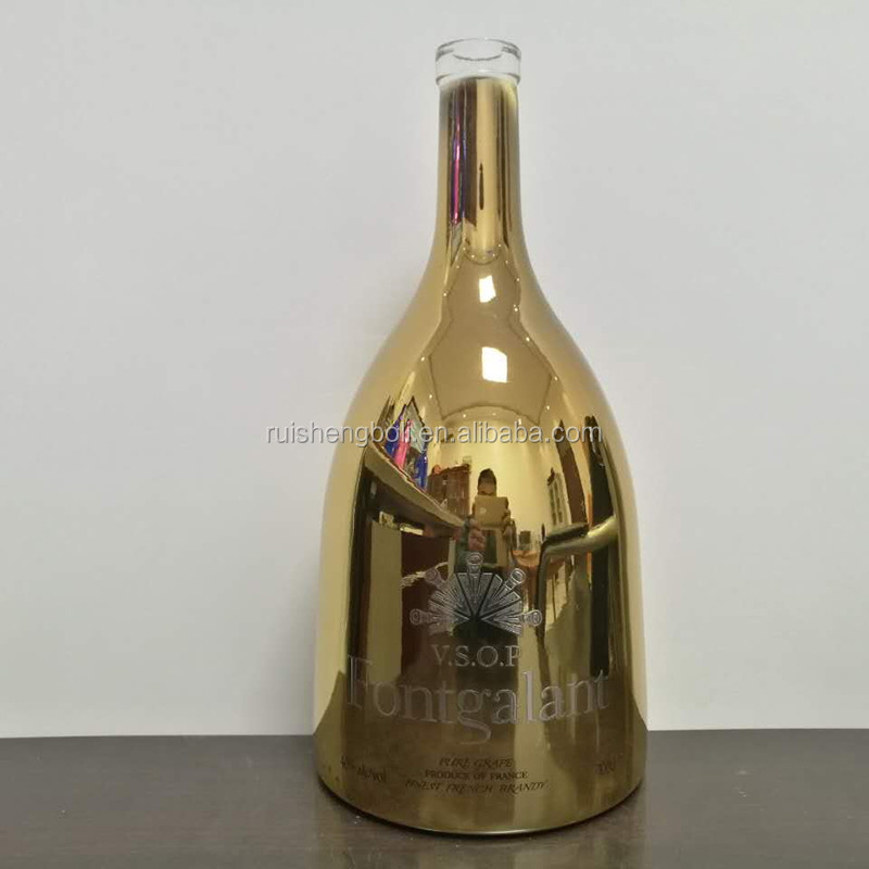 75cl Gold Sparkling Electroplating Bottle Empty Wine Bottle Wholesale