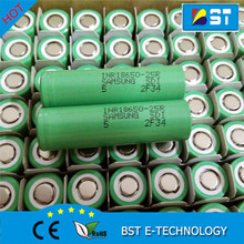 High drain li-ion battery 18650 3.7V 2500mAh INR18650 samsung 25R 35A discharge/ Samsung-25R 18650 lithium ion