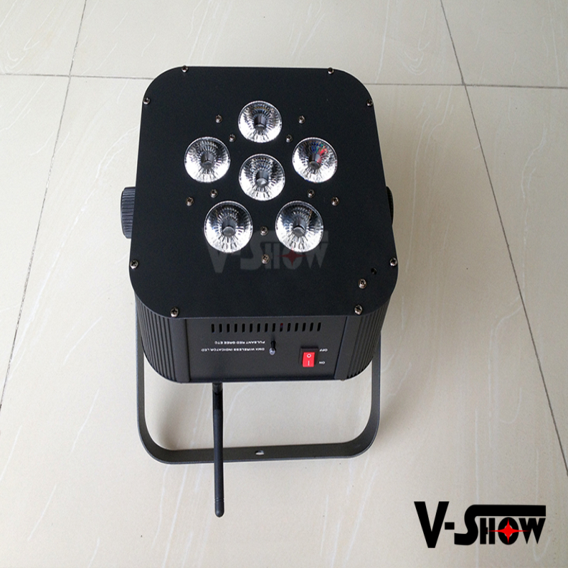 Concert stage lighting design 6x10w rgbw/a mini flat battery par can lights / led flat wireless dmx par light for party