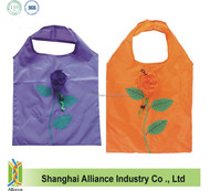 190T Polyester Rose Foldable Shoppers / Foldable Rose Shopping Bag