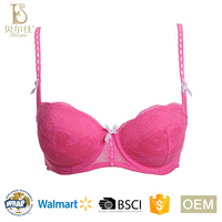 OEM fancy design fashion ladies padded soft comfortable 1/2 semi cup push up lace bra for women girls underwear