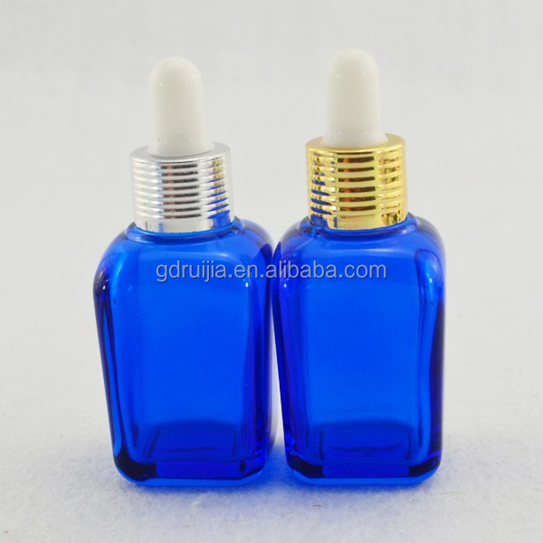 High Quality New Type blue Square E liquid Glass Bottles for olive oil jars