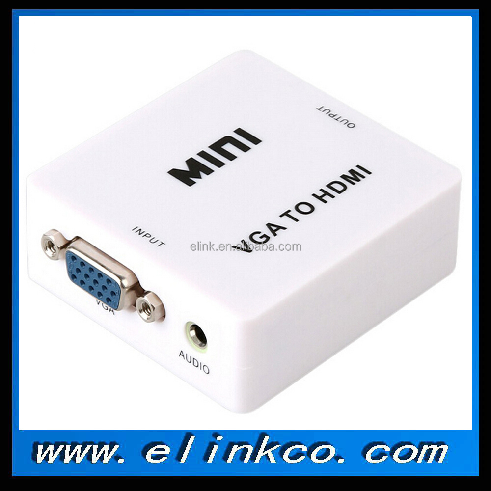 Mini VGA 2 to HDMI Full HD Video cable 1080P Audio Converter Box Adapter for PC Laptop DVD