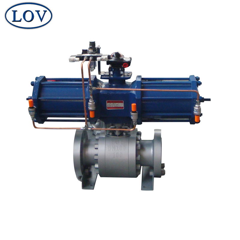 DN100 Trunnion Mounted Flanged 3 PC Pneumatic Ball Valve Price