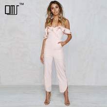 Fitted silhouette curved hem off shoulder formal lady pink ruffle jumpsuit