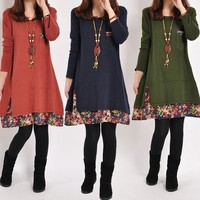 Womens Lady Sexy Fashion Dress Long Sleeve casual vintage clothing Dress SV009387