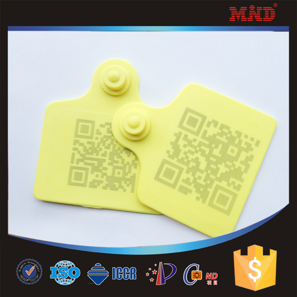 MDE121 Livestock ICAR plastic laser animal rfid ear tag for cattle