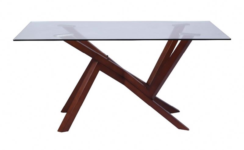 home dining table with glass and beech legs