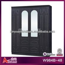 "W984B-48 Modern 64"" MDF lock big 4 solid door 4-drawer big hanging area black wooden bedroom canvas clothes wardrobe"