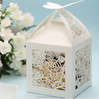 Rose flower laser cutting wedding favor gift box with butterfly cutout