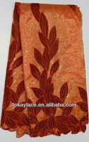 2013 hot sale wholesale pink/wine red African velvet organza lace fabric/African double organza lace