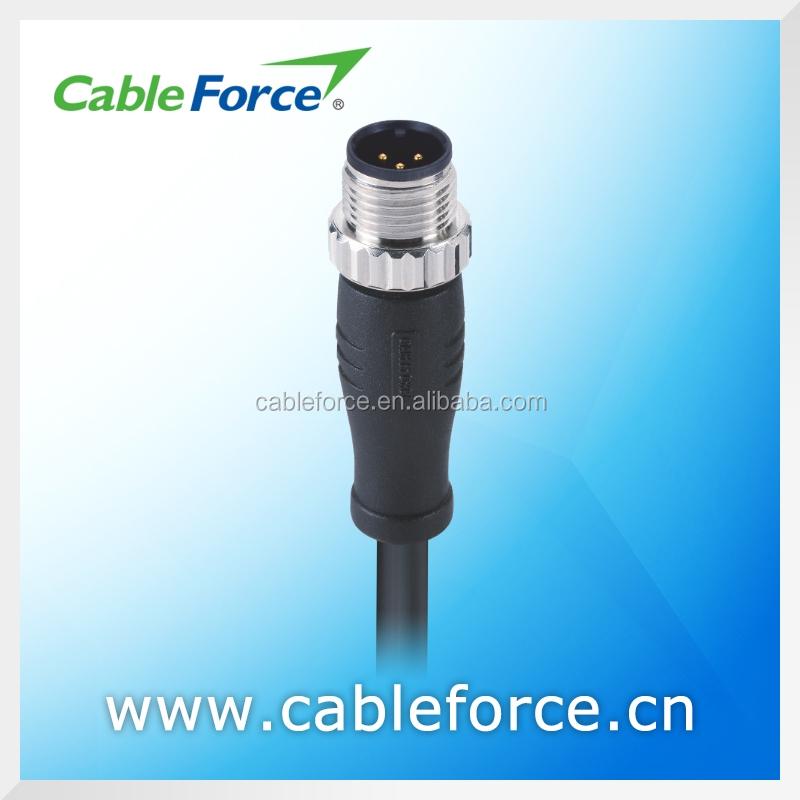 Industrial circular waterproof connector M12 3 pin male A Coding connector Straight Molded with PVC / PUR Cable connector