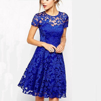 2017 Ladies Party Plain short Sleeve round Neck Lace A Line Pleated Mini Dress