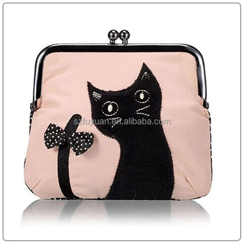 elegent cat design pu coin purse wholesale
